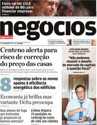 capa Jornal de Negócios de 22 junho 2021