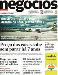 capa Jornal de Negócios de 24 junho 2021