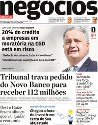 capa Jornal de Negócios de 28 junho 2021