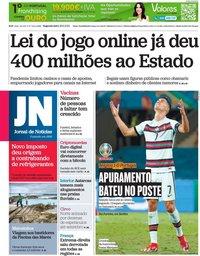 capa Jornal de Notícias de 28 junho 2021