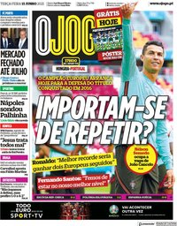 capa Jornal O Jogo de 15 junho 2021
