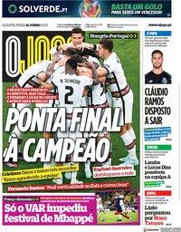 capa Jornal O Jogo de 16 junho 2021