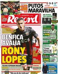 capa Jornal Record de 1 junho 2021