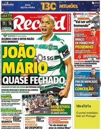 capa Jornal Record de 3 junho 2021