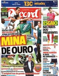 capa Jornal Record de 4 junho 2021