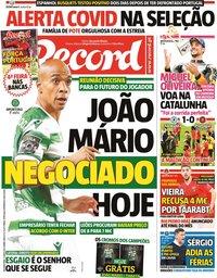 capa Jornal Record de 7 junho 2021