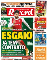 capa Jornal Record de 8 junho 2021