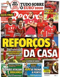 capa Jornal Record de 9 junho 2021