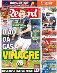 capa Jornal Record de 11 junho 2021