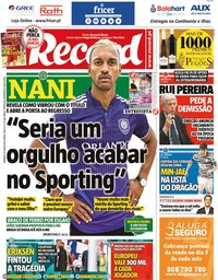 capa Jornal Record de 13 junho 2021
