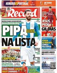 capa Jornal Record de 14 junho 2021