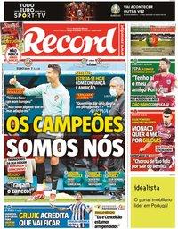 capa Jornal Record de 15 junho 2021
