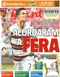 capa Jornal Record de 16 junho 2021
