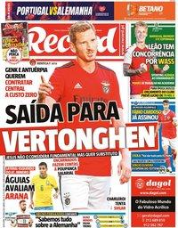 capa Jornal Record de 18 junho 2021