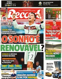 capa Jornal Record de 19 junho 2021