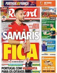 capa Jornal Record de 22 junho 2021