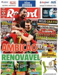 capa Jornal Record de 27 junho 2021