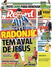 capa Jornal Record de 29 junho 2021