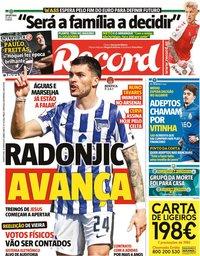 capa Jornal Record de 30 junho 2021