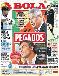 capa Jornal A Bola de 1 julho 2021