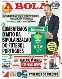 capa Jornal A Bola de 2 julho 2021