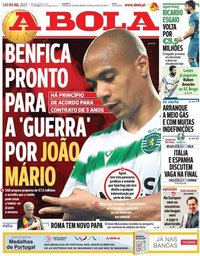 capa Jornal A Bola de 3 julho 2021