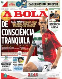 capa Jornal A Bola de 4 julho 2021