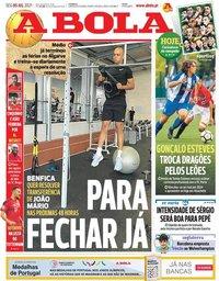 capa Jornal A Bola de 5 julho 2021