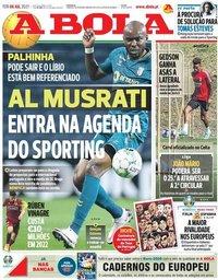 capa Jornal A Bola de 6 julho 2021