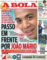 capa Jornal A Bola de 7 julho 2021