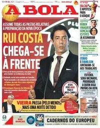 capa Jornal A Bola de 9 julho 2021