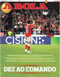 capa Jornal A Bola de 10 julho 2021