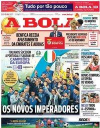 capa Jornal A Bola de 12 julho 2021