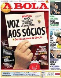 capa Jornal A Bola de 14 julho 2021