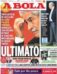 capa Jornal A Bola de 15 julho 2021