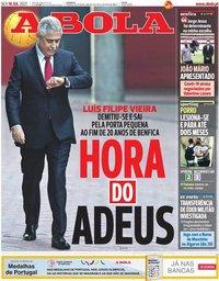 capa Jornal A Bola de 16 julho 2021