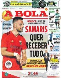 capa Jornal A Bola de 18 julho 2021