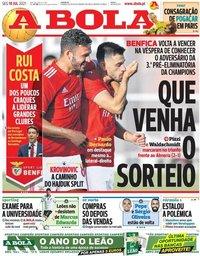 capa Jornal A Bola de 19 julho 2021