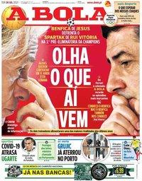 capa Jornal A Bola de 20 julho 2021