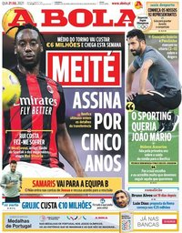 capa Jornal A Bola de 21 julho 2021