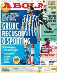 capa Jornal A Bola de 22 julho 2021