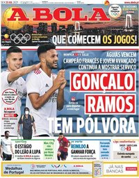 capa Jornal A Bola de 23 julho 2021