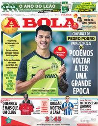 capa Jornal A Bola de 25 julho 2021