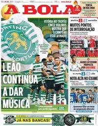 capa Jornal A Bola de 26 julho 2021