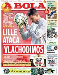 capa Jornal A Bola de 27 julho 2021