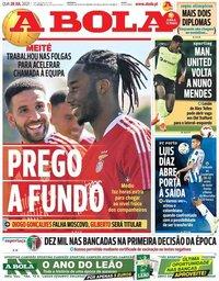 capa Jornal A Bola de 28 julho 2021
