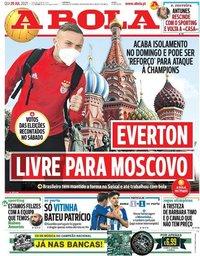 capa Jornal A Bola de 29 julho 2021