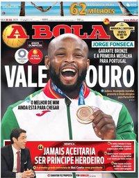 capa Jornal A Bola de 30 julho 2021