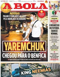 capa Jornal A Bola de 31 julho 2021