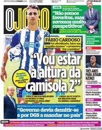 capa Jornal O Jogo de 2 julho 2021